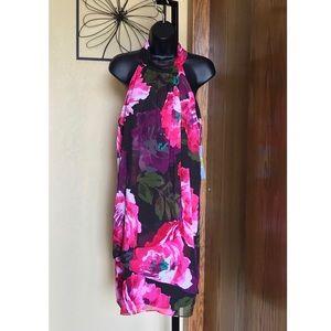 London Times Black Floral Halter Dress NWT